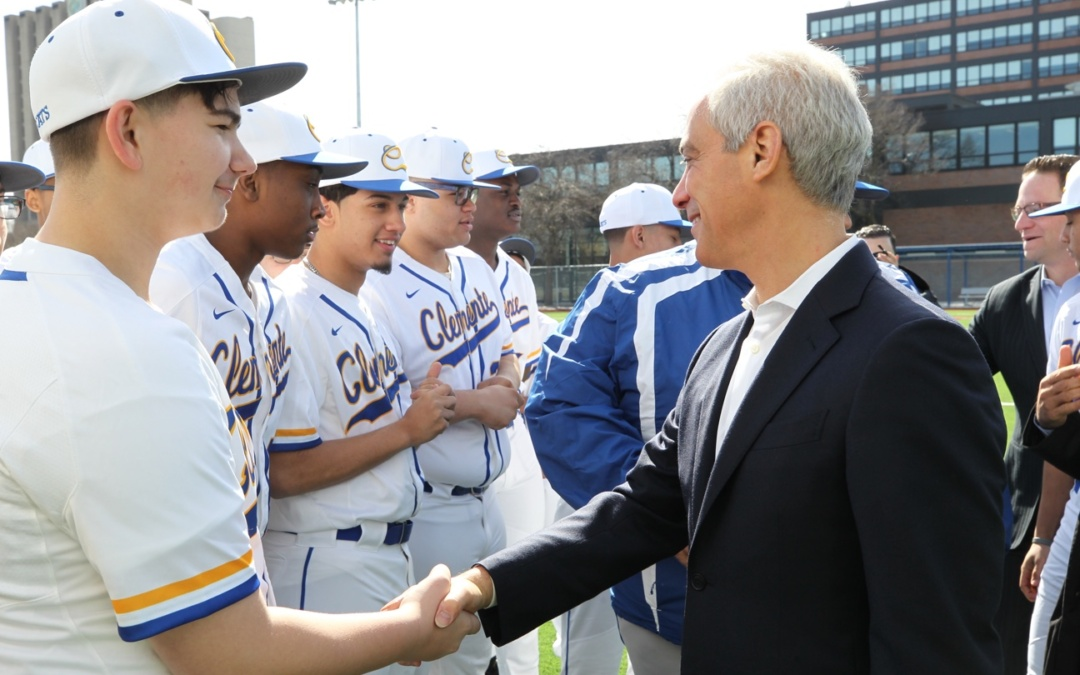 RAHM EMANUEL, GUTIERREZ & MORENO CUT RIBBON FOR NEW BASEBALL FIELD ROBERTO CLEMENTE COMMUNITY ACADEMY